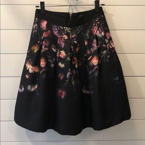 Ted Baker 1 XS Shadow Flora Full Skirt Black Silk